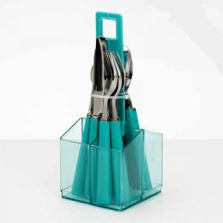 Aqua Cutlery Set With Holder