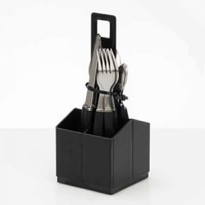 Grey Cutlery Set With Holder
