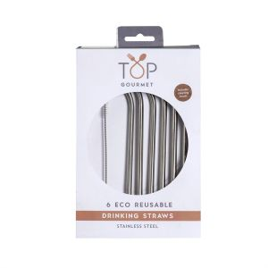 Reusable Eco Stainless Steel Straws & Cleaning Brush (Pack of 6)